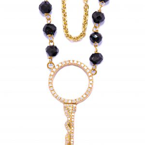 Key To My Heart Double Chain Necklace, Black Onyx