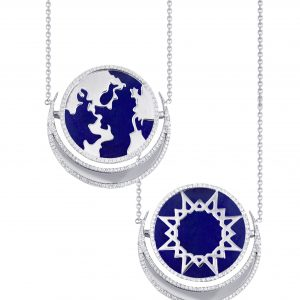 My World Reversible Pendant, Lapis, Outlined In Diamonds
