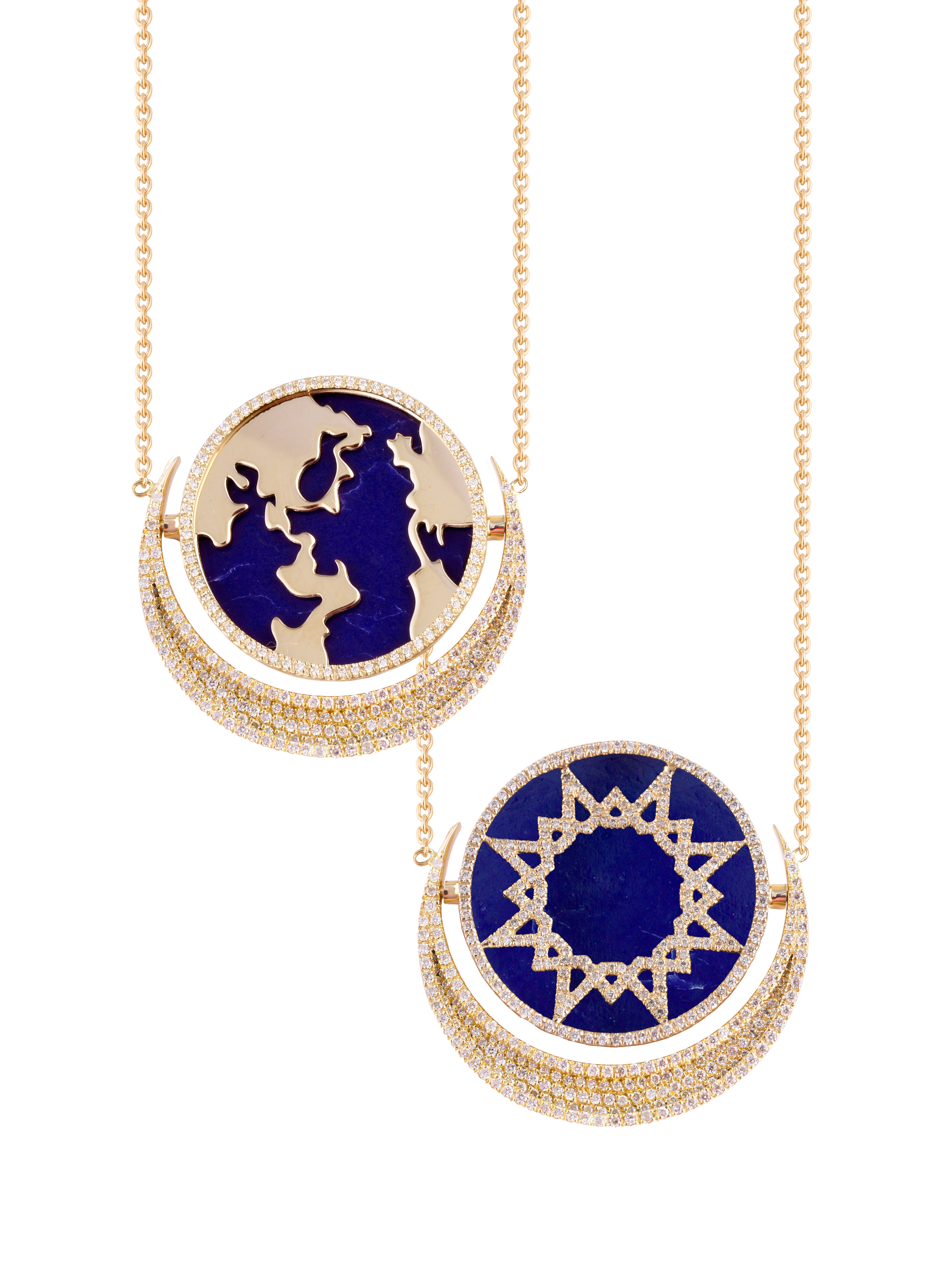 My World Reversible Pendant, Lapis, Paved In Diamonds